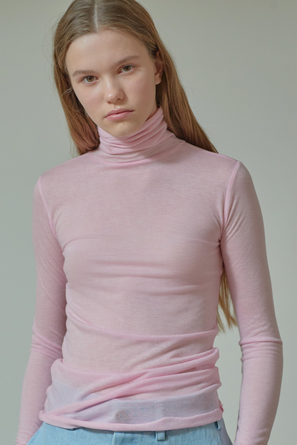 [임수정 착용] SLIMFIT TURTLE NECK TTS91TW01 SHEER PINK