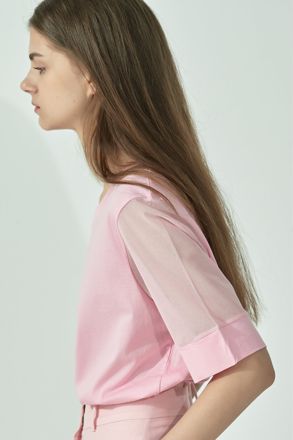 MESH SLEEVE TOPTS92CO09 PINK