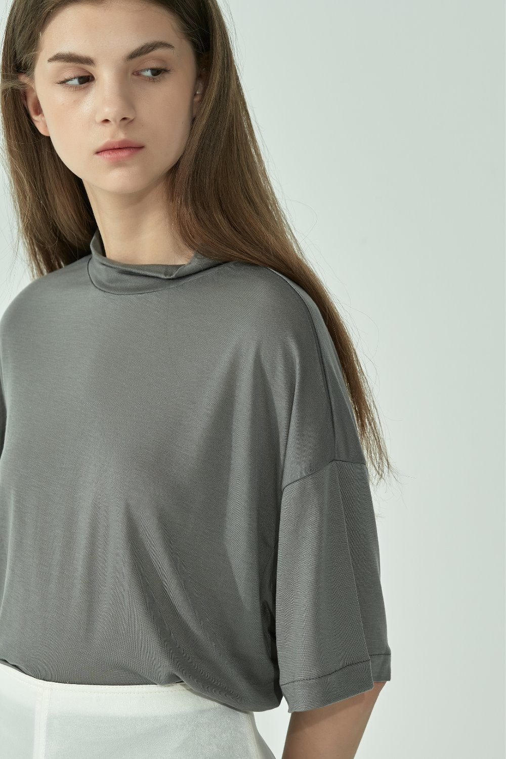 HIGH MOCK-NECK SILKY TTS92TN11 CHARCOAL