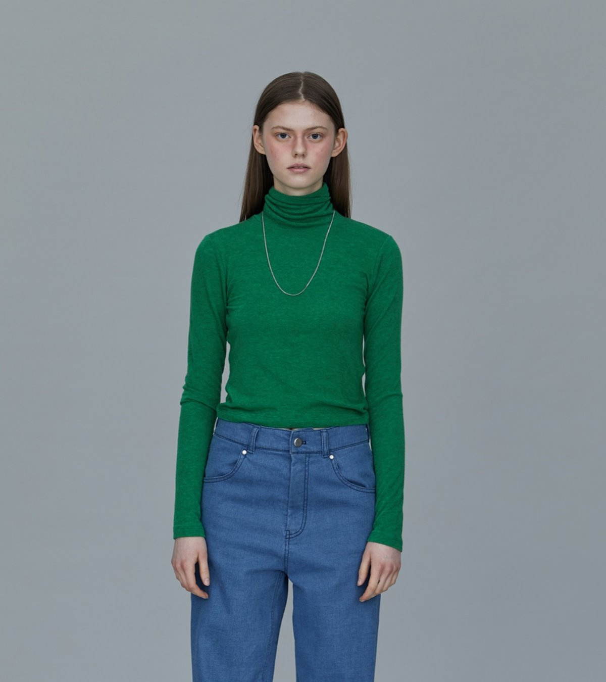 TS93TW06 WOOL SILK CROP TOP GREEN